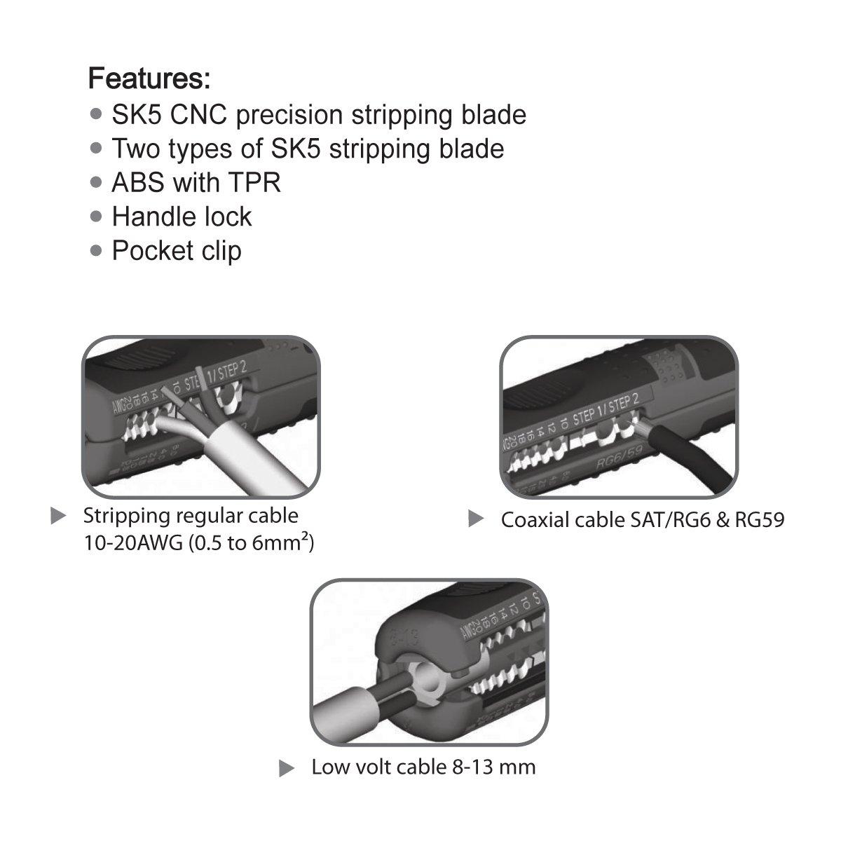 c/âble basse tension universel 8-13mm c/âble 10-20 AWG outil de d/égainage. S/&R D/énudeur Pince /à d/énuder de pr/écision SAT // RG6 et RG59