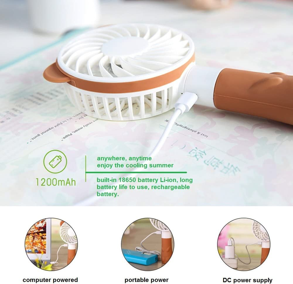 Office Travel Jhua Handheld Fan Portable Personal Fans USB Rechargeable With Strong Wind Pocket Fan Necklace Fan for Camping Home