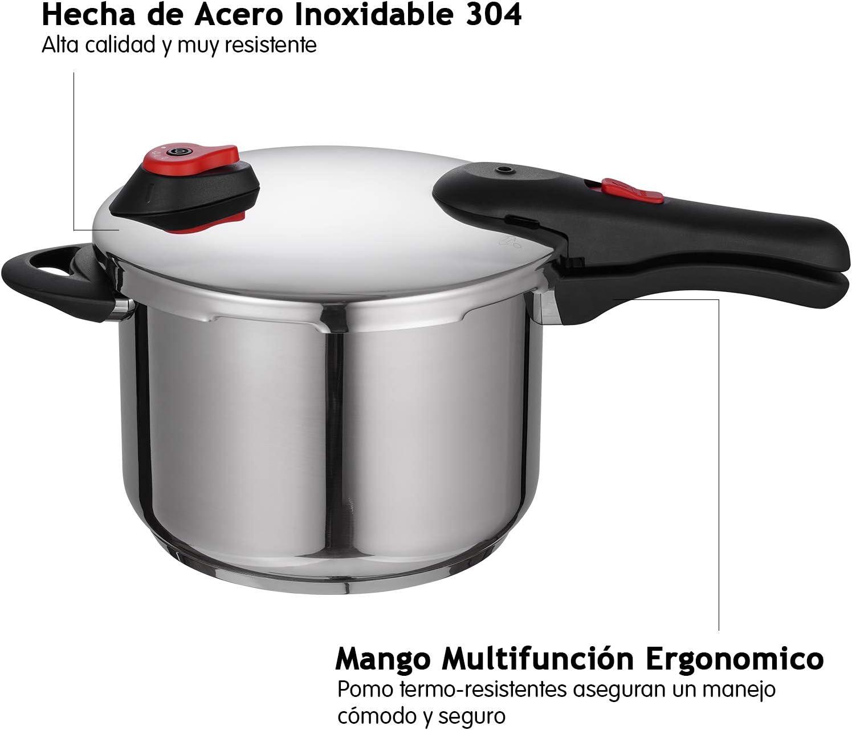 Di/ámetro de 22cm y 6L Apta para Todo Tipo de Cocinas Incluido Inducci/ón Triple Sistema de Seguridad 6 litros EPPMO Olla a Presi/ón R/ápida de Acero Inoxidable Uso F/ácil