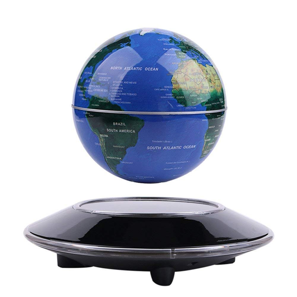 Senders 6Inch Floating Globe with LED Lights Magnetic Levitation Floating Globe World Map for Desk Decoration (Blue,6Inch) by Senders