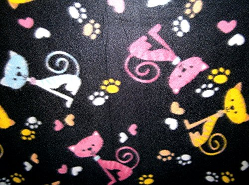 (Cats Hearts and Paw Prints on Black Fleece 1 Yard)