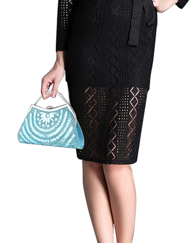 ULG Women's Evening Handbag Luxury Shoulder Wristlet Dinner Bag Bling Crossbody Chain Clutch Purse Wedding Party Frame Rhinestone Wallet 9.25''