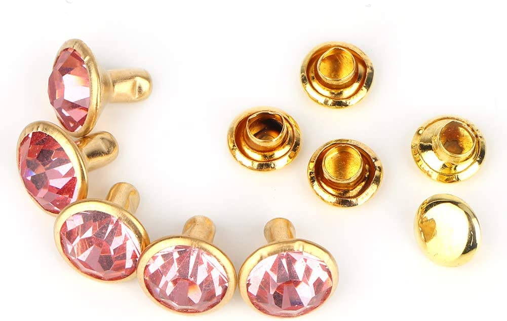 Coloridos botones de remache de diamantes de imitación, tachuelas con incrustaciones de cristal, ropa rápida, bolsos, decoración para manualidades en cuero(Phnom Penh + Pink Diamond, 12)