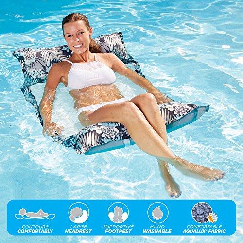 Aquarium Game Deluxe (Aqua Deluxe Monterey Hammock, 4-in1- Multi-Purpose Inflatable Pool Float, Portable, Removable Pillows, Carry Bag, Premium Fabric, Fade,  & Stain Resistant)
