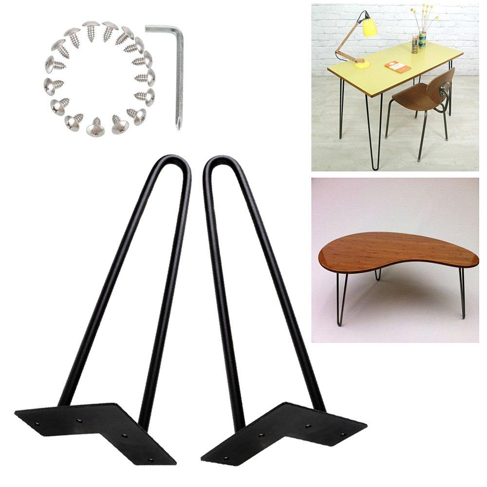 Zipom hairpin table legs metal vintage metal mid century modern style ideal for desksdinning tablescoffee tablesfurniture feet set of 4 36cm 2 rod