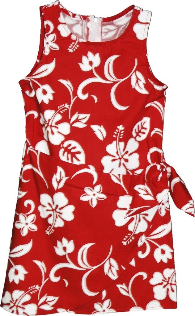 RJC Brand Hibiscus Pareo Girl's Hawaiian Sarong Dress Red 14