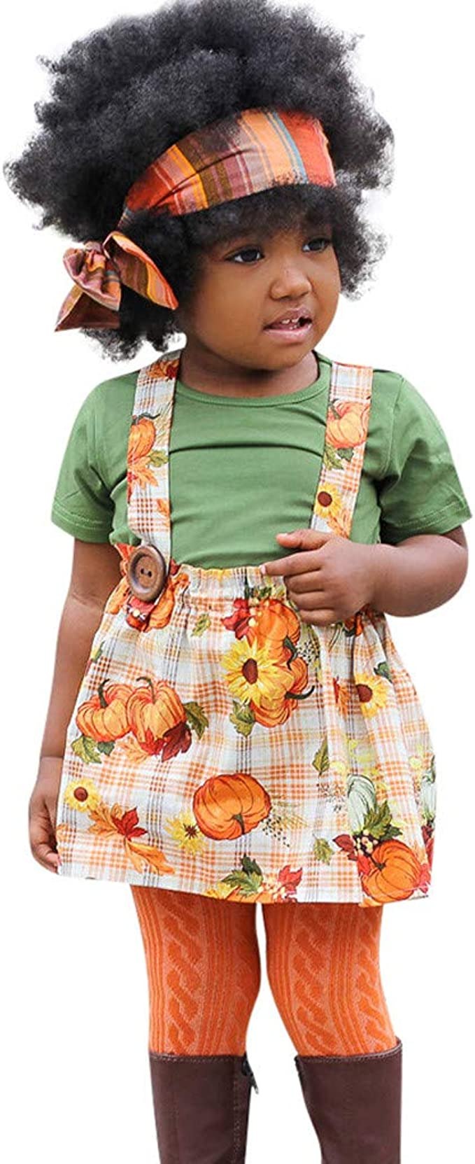 Toddler Baby Girl Halloween Pumpkin Outfit Ruffle Solid T-Shirt Tops Plaid Suspender Skirt Overall Clothes