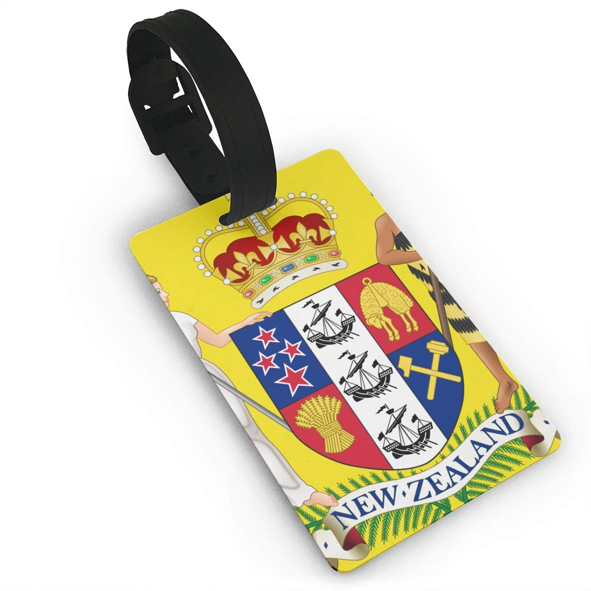 KODW12 Coat of Arms of New Zealand Luggage Tag Travel Bag Labels Suitcase Bag Tag Name Address Cards