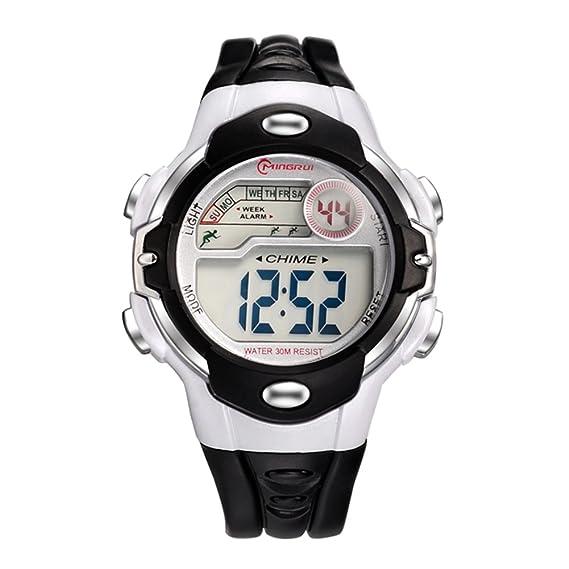 00804bdb5 Niño] Reloj deportivo,Cronómetro digital 30m impermeable Luminoso  Calendario Mes de la semana Multifunción Niña Estudiante Relojes  electrónicos-A: ...