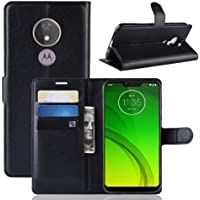 Capa Capinha Carteira Case 360 Para Motorola Moto G7 Power Com Tela De 6.2 Couro Sintético Flip Wallet Para Cartão - Danet (Preto)