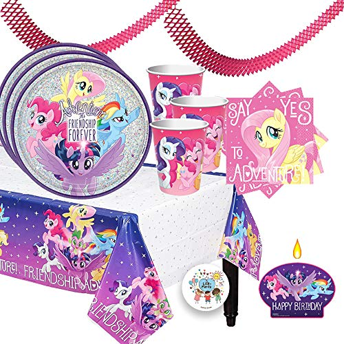 Magical My Little Pony Friendship Adventure Birthday Party Supplies Pack For 16 Guests With Prismatic Plates, Cups, Plastic Tablecover, Napkins, Birthday Candle, and Exclusive Pin By Another Dream! -