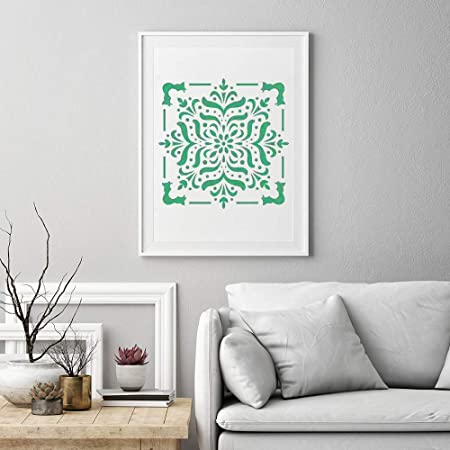 Rocks,Floor and Walls Art 6x6 inch Airbrush 9 Pack Painting-Stencils,Sosanping Drawing-Mandala-Template Reusable-Laser-Cut-Painting-Stencil for DIY-Decor Wood