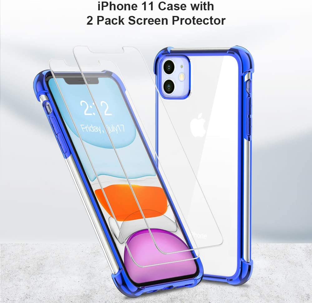 with Shockproof Crystal Clear Case for iPhone 11 6.1 inch. 2Pack BELONGME Compatible with iPhone 11 Case 2019,Tempered Glass Screen Protector