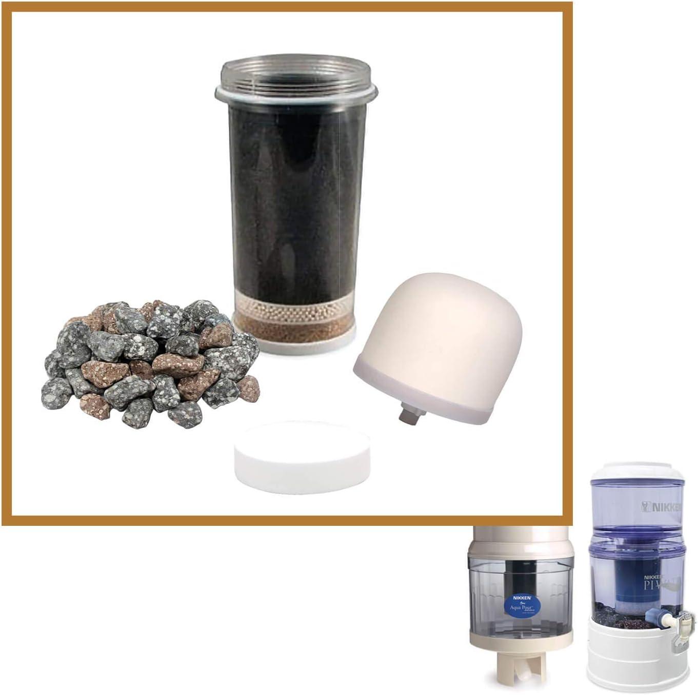 Nikken Aqua Pour 1 cartucho de filtro 1 Micro esponja prefiltro 1 prefiltro de cerámica 1 piedras minerales, 1361 1362 1364 1386, repuesto para sistema de purificador de agua de gravedad 1360, PiMag: Amazon.es: Bricolaje y herramientas