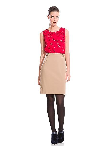 Cortefiel Vestido Mixto Punto Abeja Rojo/Tostado ES 48
