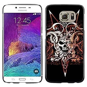 Colorful Printed Hard Protective Back Case Cover Shell Skin for Samsung Galaxy S6 / SM-G920 / SM-G920A / SM-G920T / SM-G920F / SM-G920I ( Devil Rock Metal Horns Skull Black )