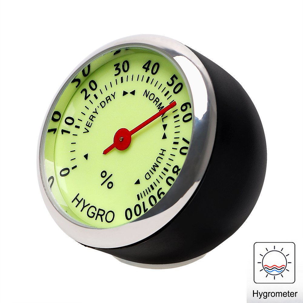 iTimo Car Luminous Quarzuhr Mini Car Hygrometer und Thermometer 3 Modelle f/ür Automobildekore Uhr