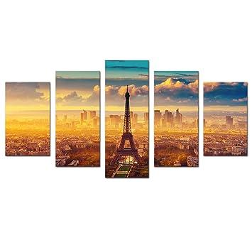 5 Panneaux Moderne Sur Toile Peinture Tour Eiffel Tableau Paris City