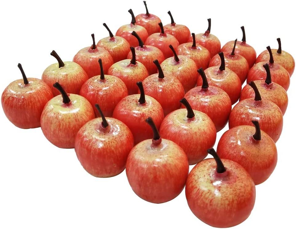 "Lorigun 30pcs Artificial Lifelike Simulation 1.3"" Mini Red Apples Fake Fruits Photography Props Model"