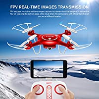 Syma X5UW Wifi FPV 720P HD Camera Quadcopter Drone with Flight Plan Route App Control and Altitude Hold Function Red by DoDoeleph