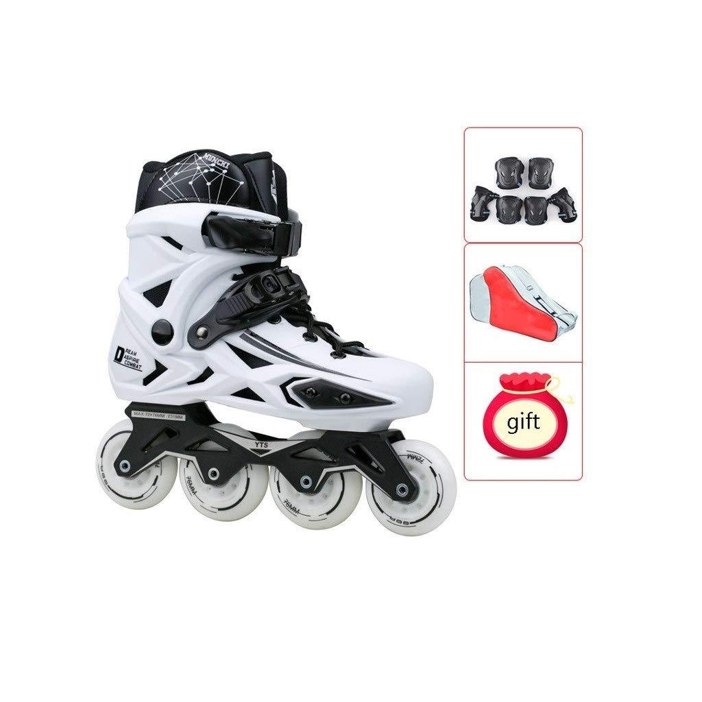 XDSAインラインスケート インラインスケート、大人の単一行スケートプロの男性と女性のスケート子供初心者フルセットホワイト (Color : A, Size : 41 EU/8 US/7 UK/25.5cm JP)   B07SQ4MLJ5