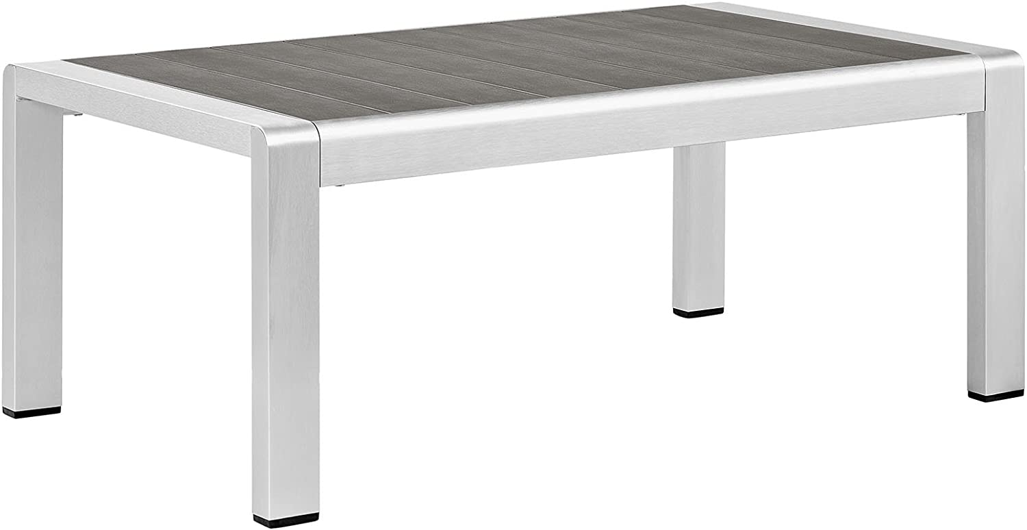 Modway Shore Aluminum Outdoor Patio Coffee Table in Silver Gray : Garden & Outdoor