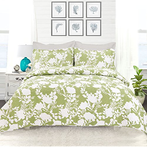 Green Cotton Quilt (DriftAway Drift Away 3 Piece Floral Delight Reversible Quilt Set/Bedspread/Coverlet - Floral/Botanical Pattern, 100% Cotton, Pre-washed, Green (King/Cal King))