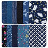 Iron on Patches for Jeans, 24 Pcs 12 Pattern Iron On Sew On Denim Patches Pack for Girls Kids DIY Jeans Clothing Jackets Bags Iron-on Flower Repair Kit,4.9 X 3.7 inches (Rectangle)