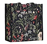 Black Floral Shoulder Tote Shopping Bag by Signare with Sunflower Poppy Dragonfly Butterfly (SHOP-MGDBK)