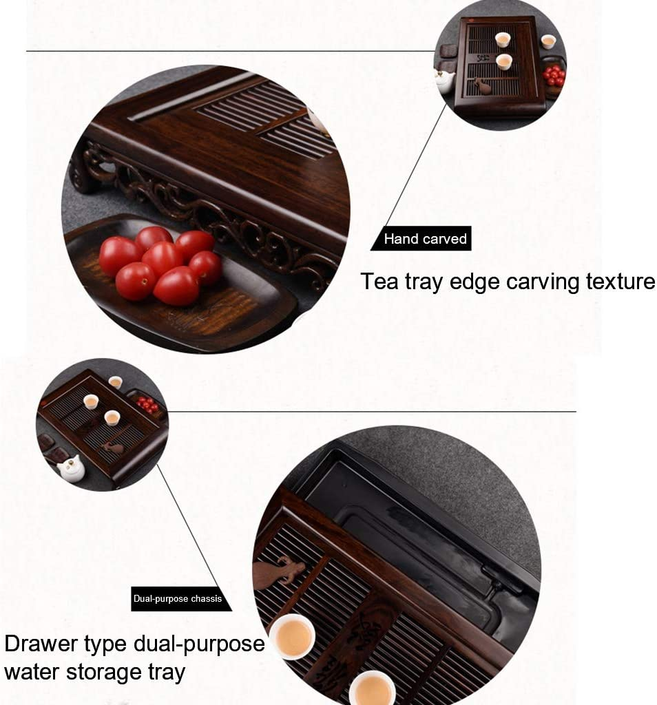 Chinese Gongfu Tea Table Serving Tray Brown Tabletop Tray for Kungfu Tea Set