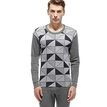 OPPP Set de Ropa Térmica para Geométrica Jacquard algodón Conjunto Largo Pijamas Hombres cálido Invierno Manga