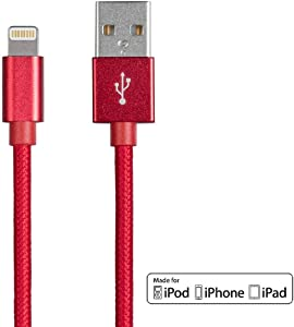 Monoprice Apple MFi Certified Lightning to USB Charge & Sync Cable - 1.5 Feet - Red Compatible with iPhone X 8 8 Plus 7 7 Plus 6s 6 SE 5s, iPad, Pro, Air 2 - Palette Series