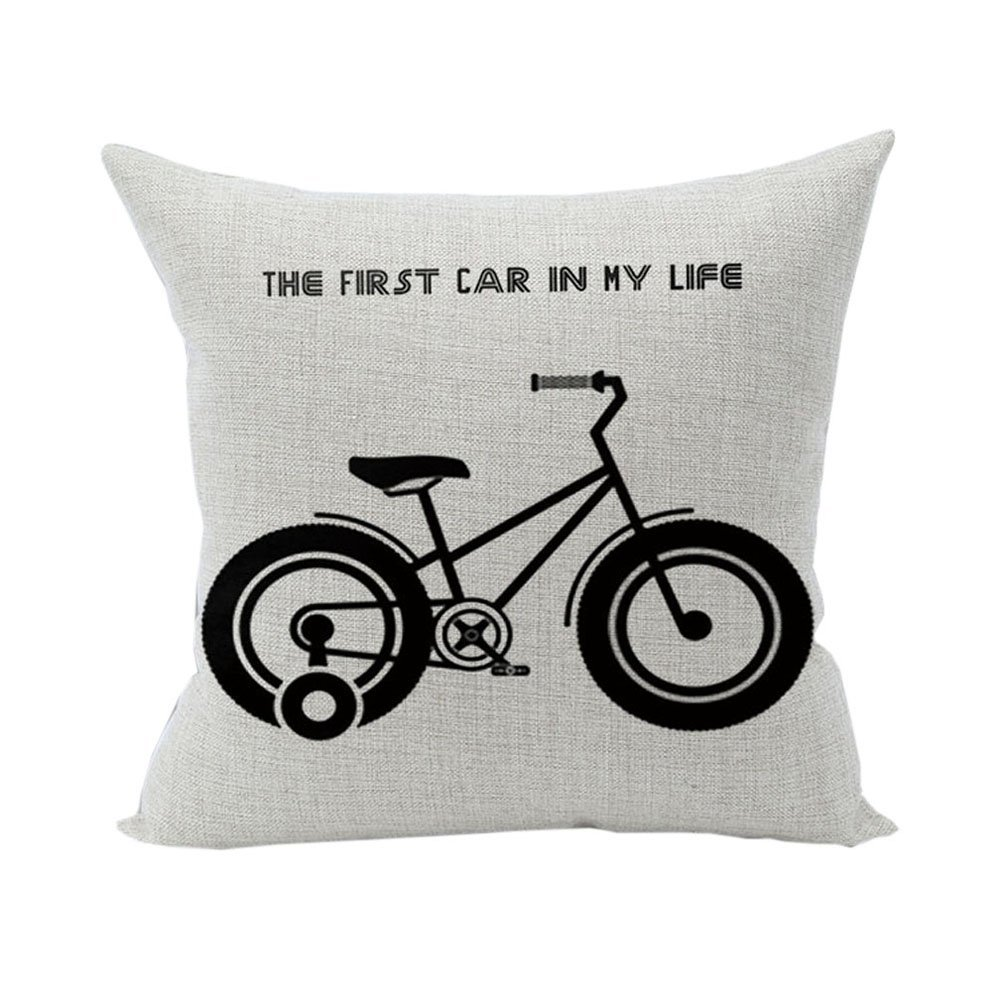Nunubee Bicycle Cotton Linen Home Square Pillow Decor Throw Pillow Case Sofa Cushion Cover Flower