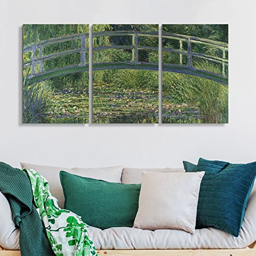 3 Panel The Water Lily Pond by Claude Monet Gallery x 3 Panels