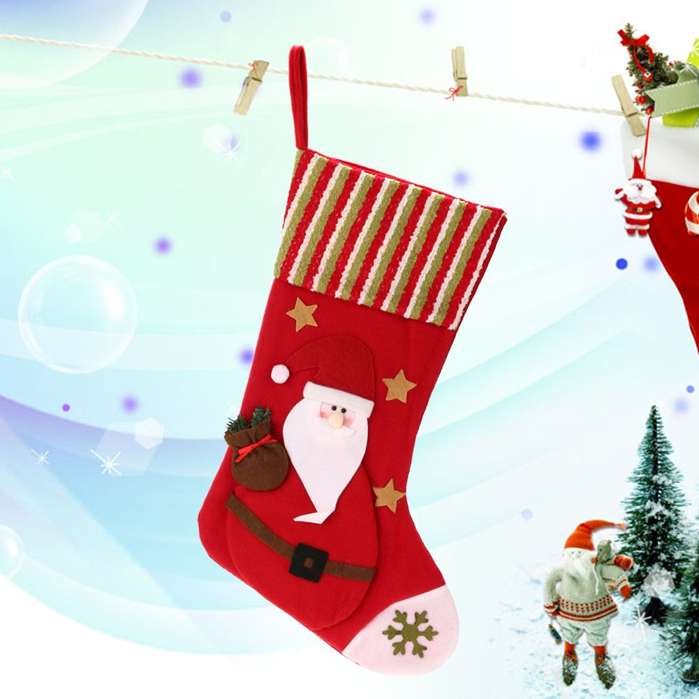 35e0cf0b5 Amazon.com: Awakingdemi Classic Christmas Stockings Set of 2 Santa, Snowman  Xmas and Deer Snowflake Xmas Character Sack Sock for Home Decoration (Red):  Home ...