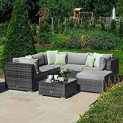 Nova Outdoor Garden Furniture Chelsea Rattan Corner Sofa Set Grey