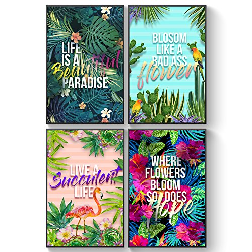 Pillow & Toast Bliss Garden Set of FOUR Posters for Living Room. Encouraging Home Kitchen Decor. Hand Made Rainforest Hibiscus, Cacti, and Succulent Plants Eco-Friendly Wall Art.