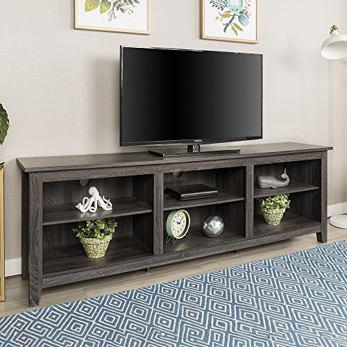 Striped Console Cabinet - New 70 Inch Wide Television Stand in Charcoal Finish