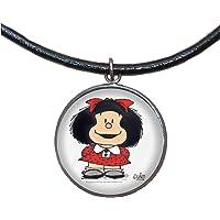 Colgante de Acero, 30mm, Cordón de cuero,Hecho a mano, Ilustración Mafalda 4