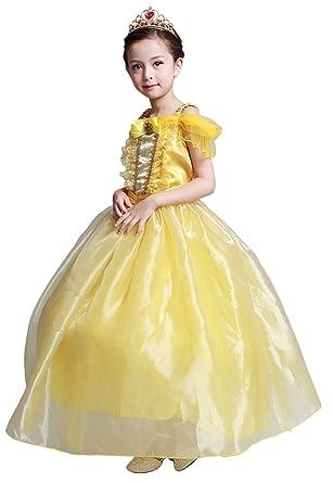 ebe68a634e631 美女と野獣 キッズドレス 子供コスチューム プリンセスゴングドレス ベル ドレス キッズ コスプレ