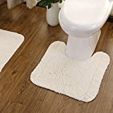 USIX Hand Tufted Cotton Towel-Like Hotel Spa Tub Shower Bath Floor Mat Washable Bath Mats Soft Absorbent Cotton Rug / Non-Rubber Back (Off White,U Shape 19.5x19.5')