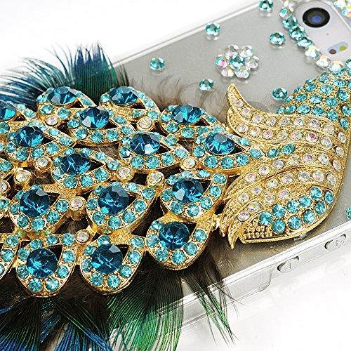 Mavis's Diary Coque iPhone5/iPhone5S/iPhone SE PC Rigide Transparent 3D Bling Strass Paon Plume Bleu Housse de Protection Étui Téléphone Portable Phone Case Cover