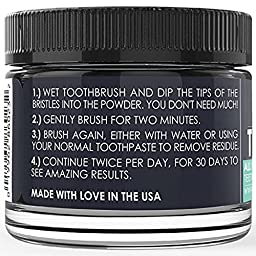 Natural Charcoal Teeth Whitening, Gentle Mint Tooth And Gum Powder, Organic Activated Charcoal and Bentonite Clay Formula