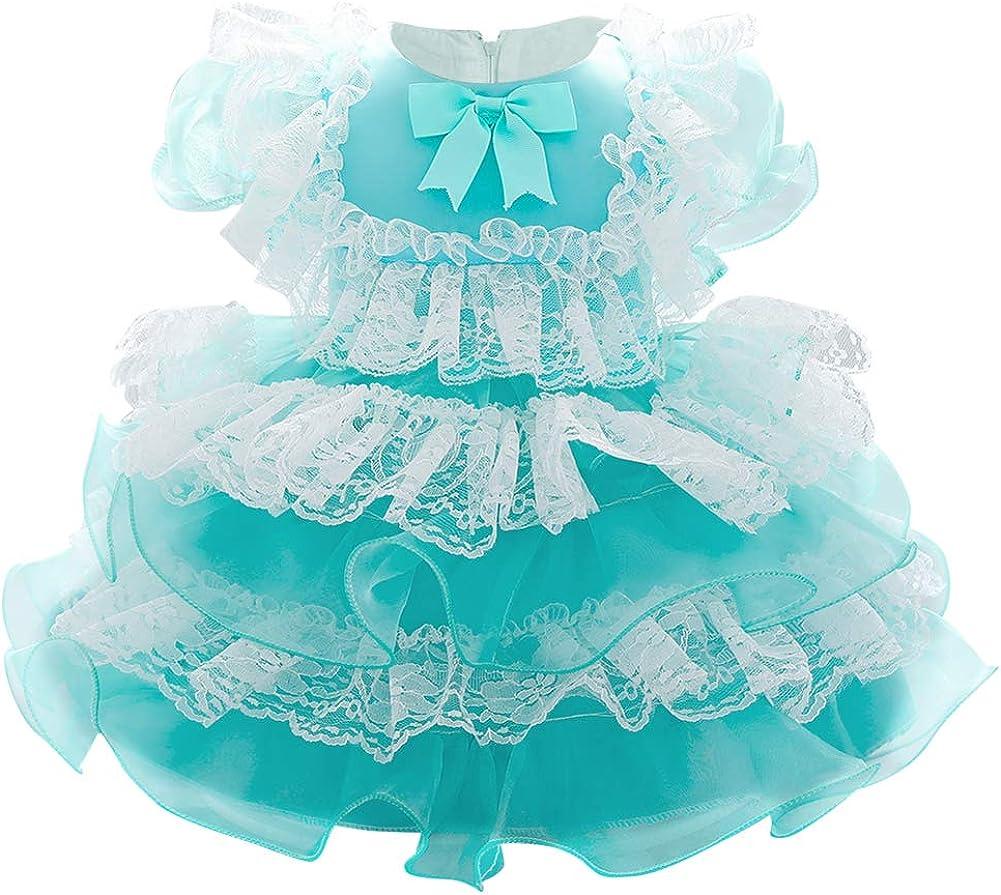 ODASDO Infant Baby Girls Sweet Lolita Princess Dress Toddler Kids Short Sleeve Bowknot Wedding Birthday Party Dress