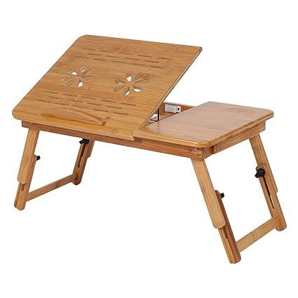 Laptop-Tisch fürs Bett - MAGT Verstellbarer Bambusregal ...