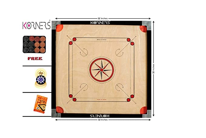 KORNERS Full Size(Large) 32 Inch 4mm Cut Pocket Carrom Board with Coins, Striker & Powder