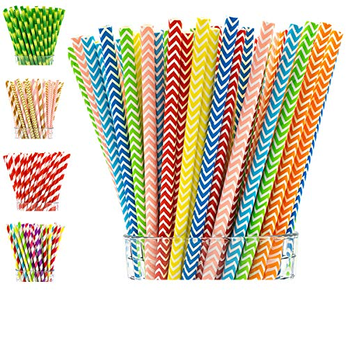 Paper Straws by Party Girl Kim - 200 Box | Fiesta Party Decorations | Lemonade Stand Supplies | Decorative Cute Colorful Drinking Straws - Eco Friendly Biodegradable Straws (Rainbow Chevron)