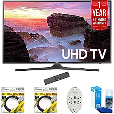 "Samsung 50"" 4K Ultra HD Smart LED TV 2017 Model (UN50MU6300) with 2x 6ft High Speed HDMI Cable, Transformer Tap USB w/ 6-Outlet, Screen Cleaner for LED TVs & 1 Year Extended Warranty"