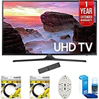 Samsung 40 4K Ultra HD Smart LED TV 2017 Model (UN40MU6300FXZA) with 2x 6ft High Speed HDMI Cable, Transformer Tap USB w/ 6-Outlet, Screen Cleaner for LED TVs & 1 Year Extended Warranty