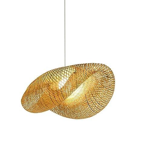 HWJF Estilo Retro del sudeste asiático, lámpara de bambú, lámpara de Techo, Sala de té, Sala de Estar, decoración de ratán AC110-240V E27,60CM